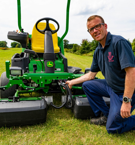 """Course Manager Darren Moxham """"I need a precision mower to do what I want, whenever I want it, and the John Deere 2500E does it every time."""""""