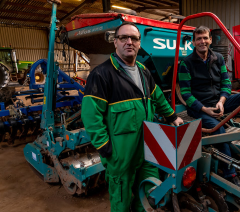 """Stan Evans (left) and Rob Cook """" In the ten years we've been operating this drill, we have never replaced a disc or a bearing"""