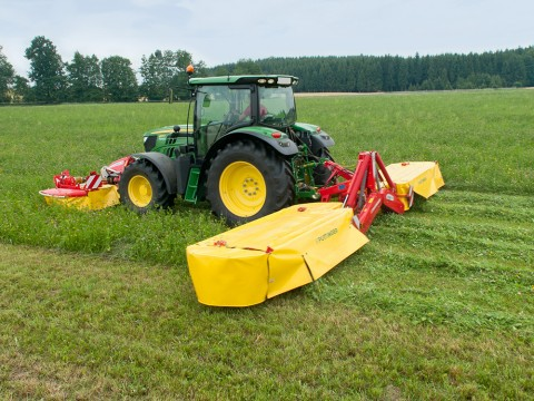 Pottinger mower combination for clean cut stubble. Mower Conditioners are available from John Deere and Pottinger